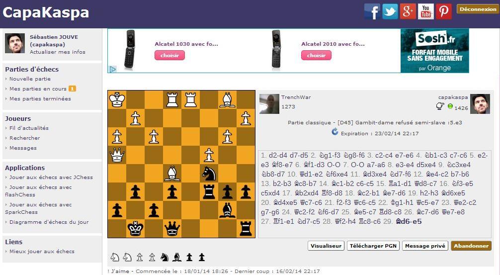 Jouer aux échecs en ligne en différé sur Capakaspa