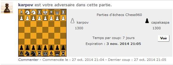 Jouer aux échecs Chess960 sur CapaKaspa