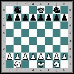Position initiale d'une partie d'échecs simplifiée pour débuter aux échecs