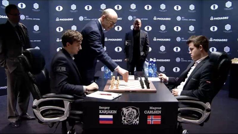 Carlsen Karjakin 2016 partie 6 premier coup