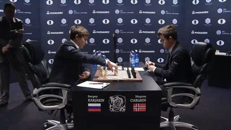 Carlsen Karjakin 2016 partie 9 coup 1