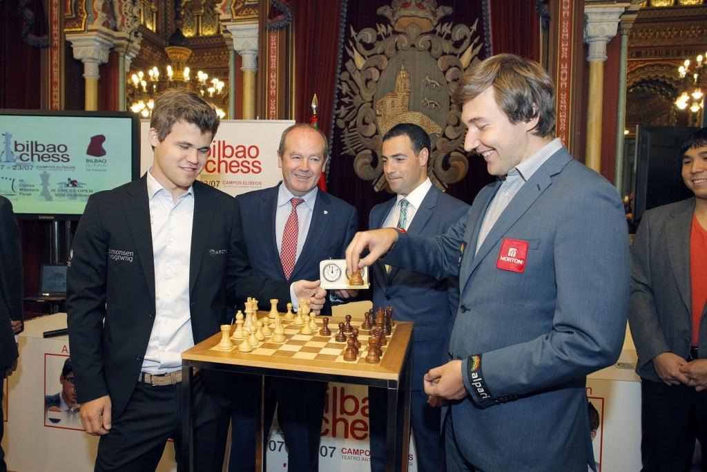 Bilbao Chess Masters 2016 Cérémonie d'ouverture Magnus Carlsen et Sergey Karjakin