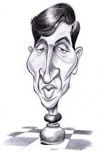 Caricature des échecs Bobby Fischer en pièce d'échecs