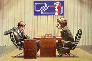 Caricature échecs Bobby Fischer Boris Spassky