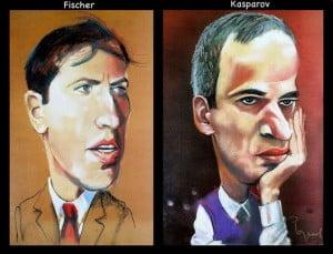 Caricature échecs Bobby Fischer Garry Kasparov
