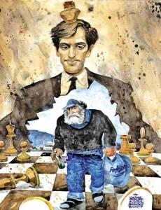 Caricature des échecs Bobby Fischer Reykjavik