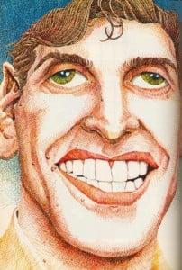Caricature échecs Bobby Fischer sourire