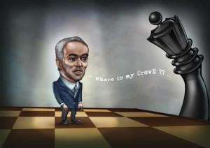 Caricature des échecs Garry Kasparov : Où est ma couronne ?