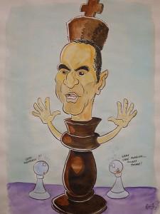 Caricature échecs Garry Kasparov roi