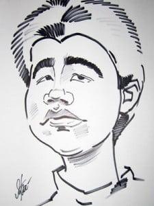 Caricature échecs Hikaru Nakamura par Iaroslaw Khanko
