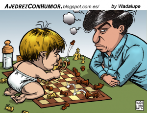 Caricature échecs Magnus Carlsen bébé Viswanathan Anand
