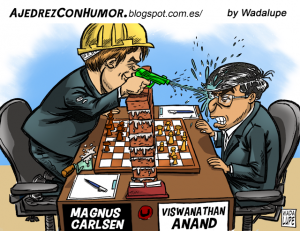 Caricature échecs Magnus Carlsen Viswanathan Anand mur