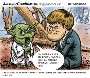 Caricature échecs Magnus Carlsen Yoda