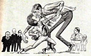 Caricature des échecs Match Fischer-Spassky 1972
