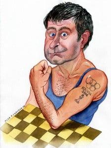 Caricature échecs Vassily Ivanchuk muscle