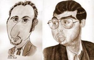 Caricature échecs Veselin Topalov Viswanathan Anand