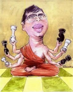Caricature échecs Viswanathan Anand