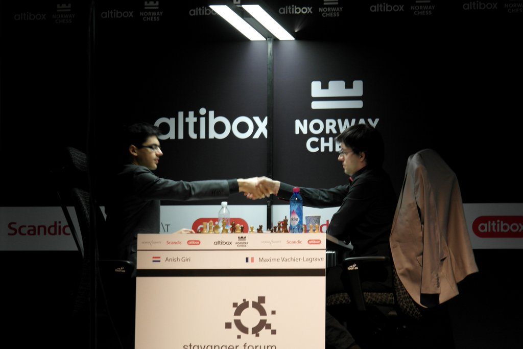 Norway Chess 2016 Ronde 2 Anish Giri contre Maxime Vachier-Lagrave