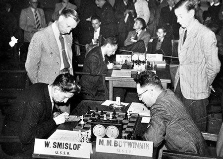 Vassily Smyslov contre Mikhail Botvinnik en 1957