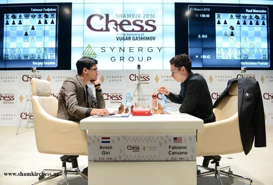 Shamkir Chess 2016 Ronde 7 Fabiano Caruana et Anish Giri