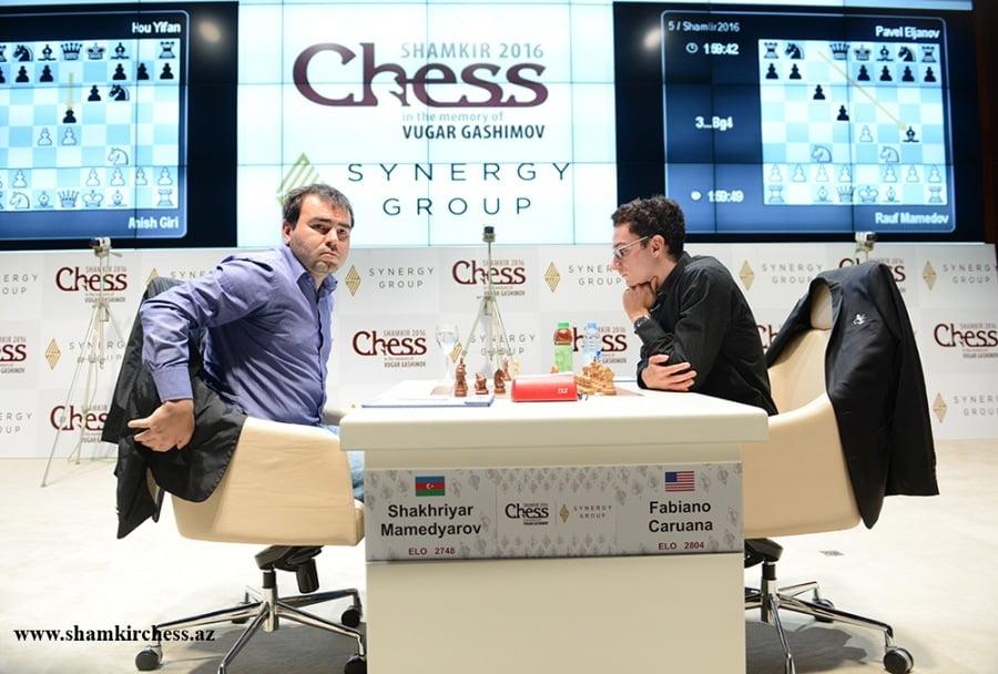 Shamkir Chess 2016 Ronde 8 Shakhriyar Mamedyarov bat Fabiano Caruana