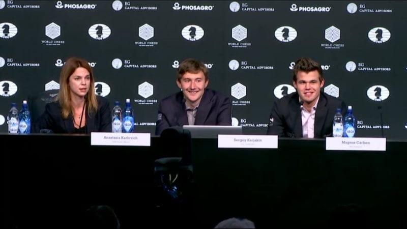 Carlsen Karjakin 2016 partie 6 conference presse