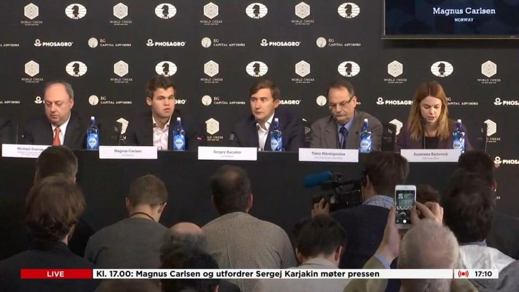 Conférence de presse Carlsen-Karjakin 2016