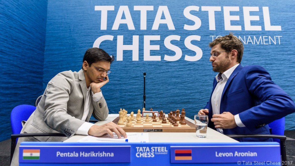 Tata Steel Chess Masters 2017 ronde 1 Harikrishna Aronian