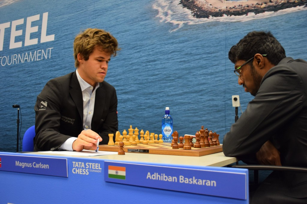 Tata Steel Chess Masters 2017 ronde 11 Magnus Carlsen Baskaran Adhiban