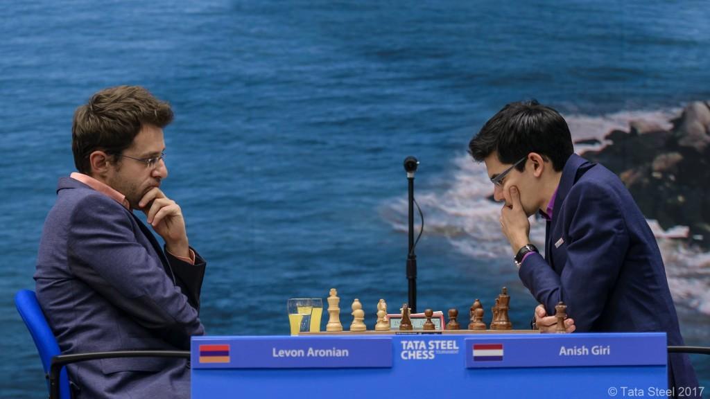 Tata Steel Chess Masters 2017 ronde 8 Levon Aronion - Anish Giri