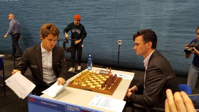 Tata Steel Chess Masters 2017 ronde 9 Magnus Carlsen contre Loek van Wely