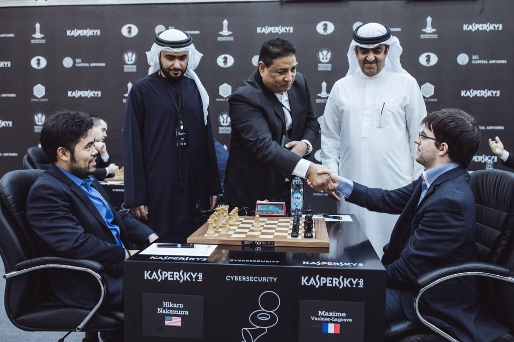 Grand Prix FIDE 2017 Sharjah ronde 4 Maxime Vachier-Lagrave contre Hikaru Nakamura