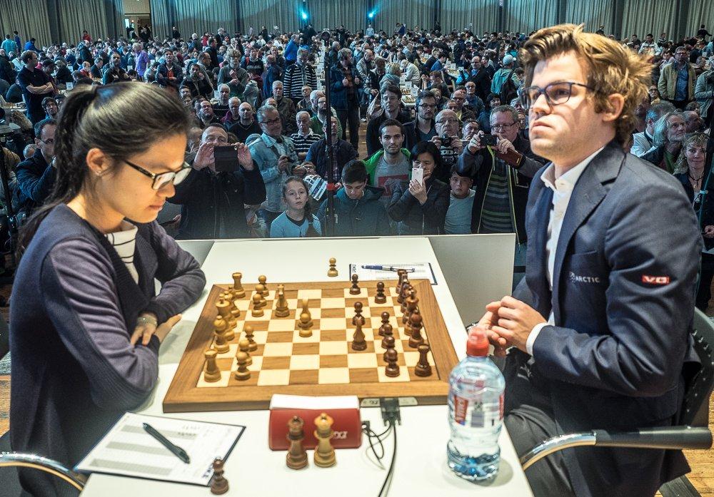 Grenke Chess Classic 2017 Ronde 3 Hou Yifan et Magnus Carlsen