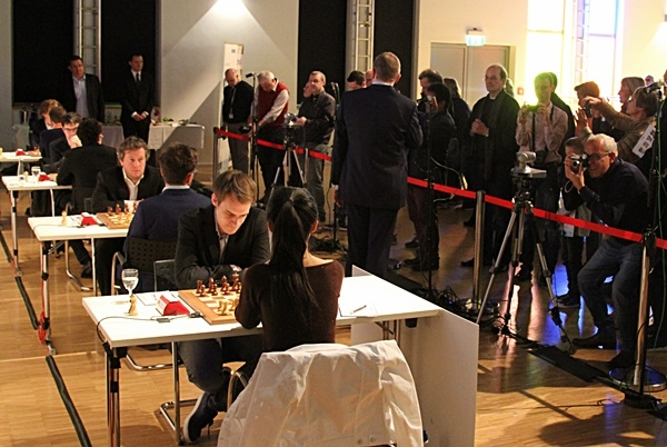 Grenke Chess Classic 2017 Ronde 5 Salle de jeu et photographes