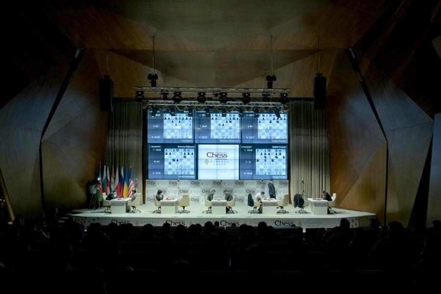 Shamkir Chess 2017 ronde 7 Vue salle et parties