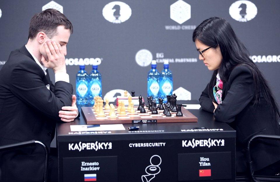 Grand Prix FIDE 2017 Moscou ronde 9 Hou Yifan et Ernesto Inarkiev