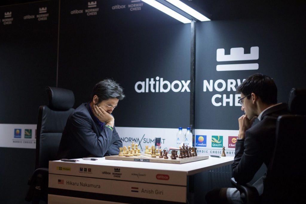 Norway Chess 2017 ronde 1 Hikaru Nakamura et Anish Giri