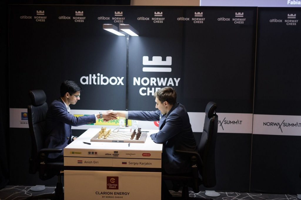 Norway Chess 2017 ronde 2 Anish Giri et Sergey Karjakin