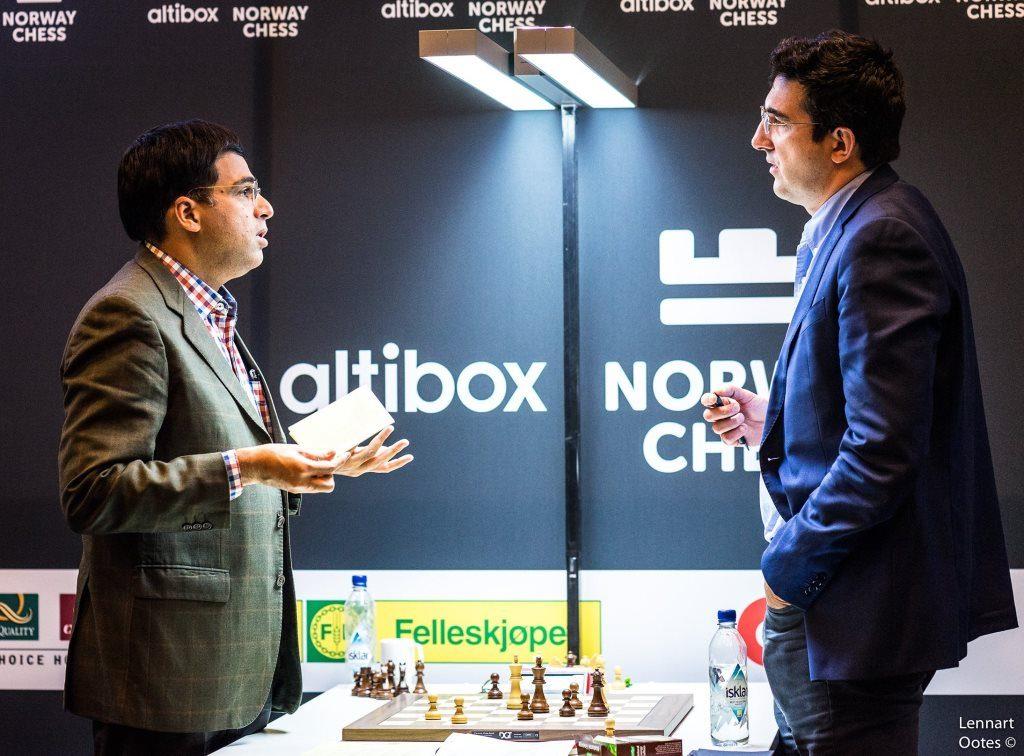 Norway Chess 2017 ronde 2 Viswanathan Anand et Vladimir Kramnik