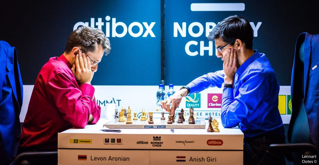 Norway chess 2017 ronde 3 Levon Aronian et Anish Giri