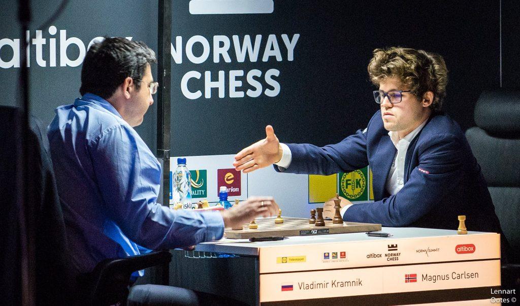 Norway Chess 2017 ronde 7 Magnus Carlsen et Vladimir Kramnik