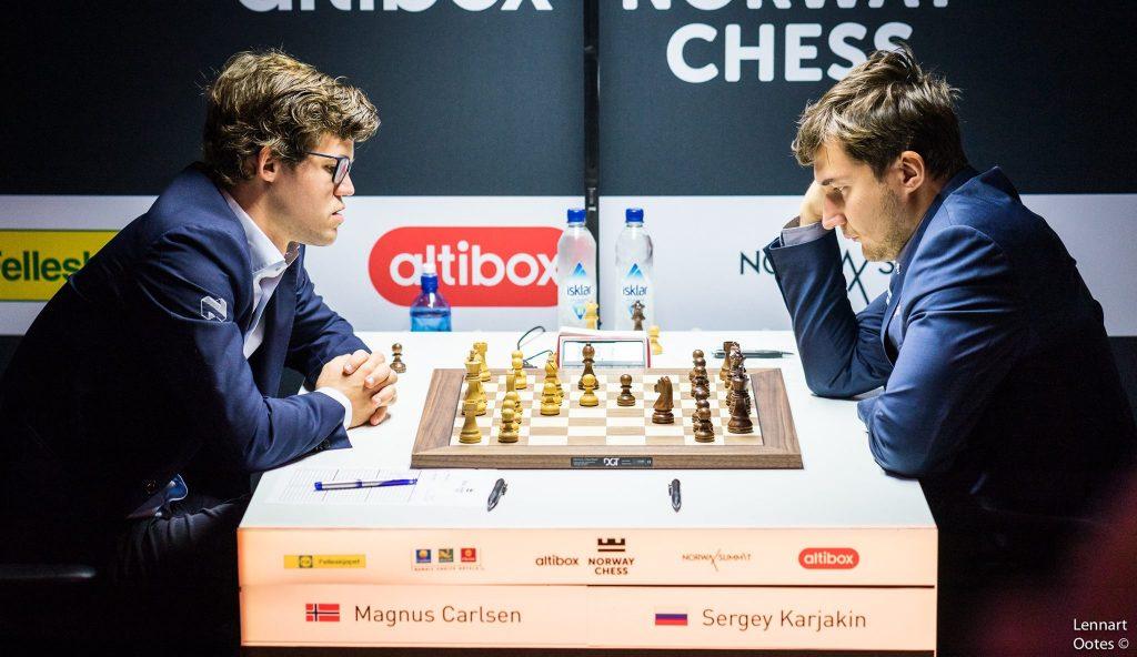 Norway Chess 2017 ronde 8 Magnus Carlsen et Sergey Karjakin