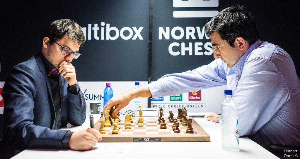 Norway Chess 2017 ronde 8 Maxime Vachier-Lagrave et Vladimir Kramnik