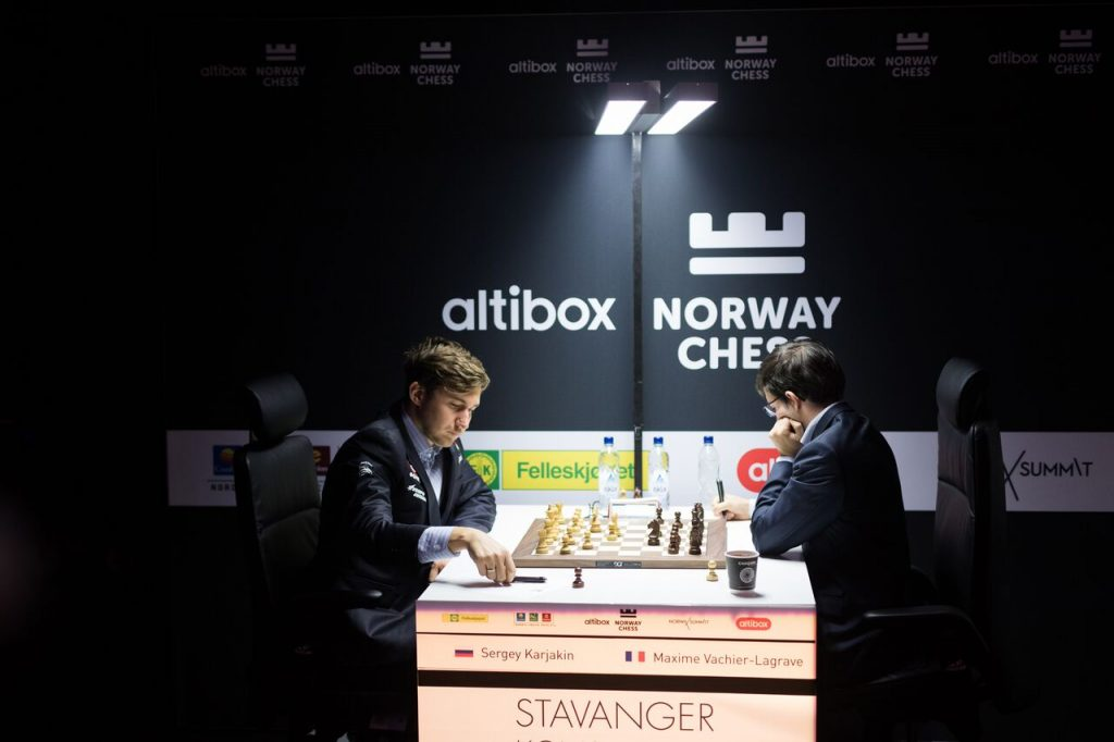 Norway Chess 2017 ronde 9 Sergey Karjakin et Maxime Vachier-Lagrave