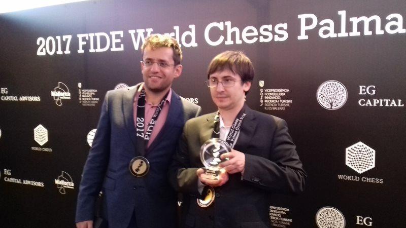 Grand Prix FIDE 2017 Palma de Majorque Remise de Prix Aronian Jakovenko