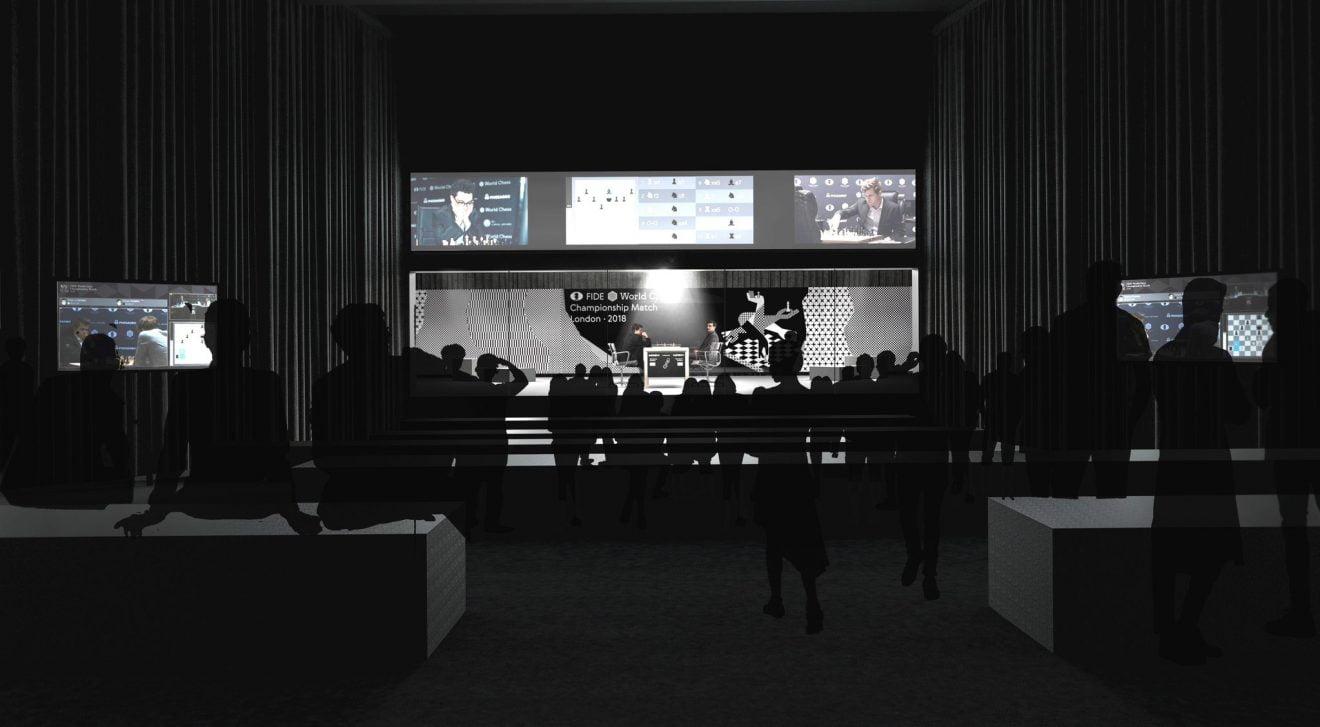 Championnat du Monde d'échecs 2018 salle jeu The College Londres