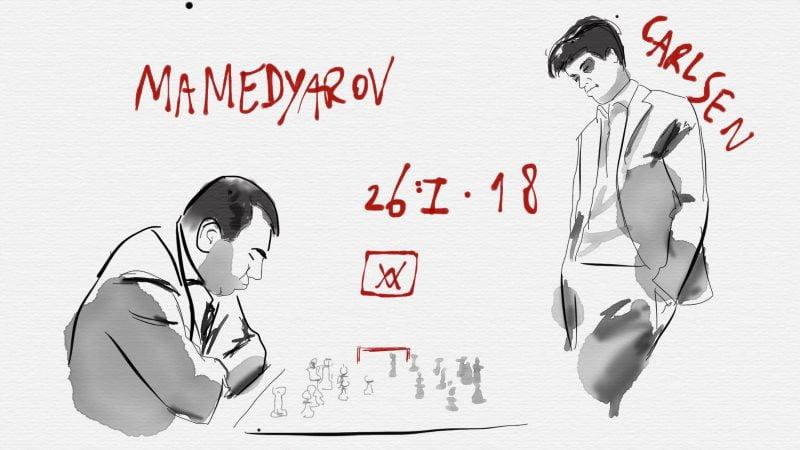 Tata Steel Chess Masters 2018 ronde 11 Carlsen-Mamedyarov