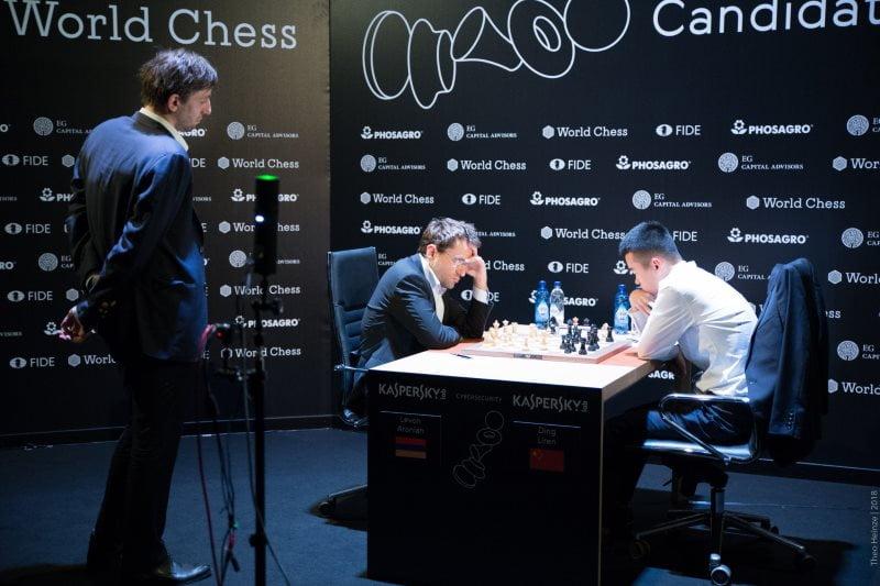 Tournoi Candidats 2018 ronde 1 Levon Aronian - Liren Ding