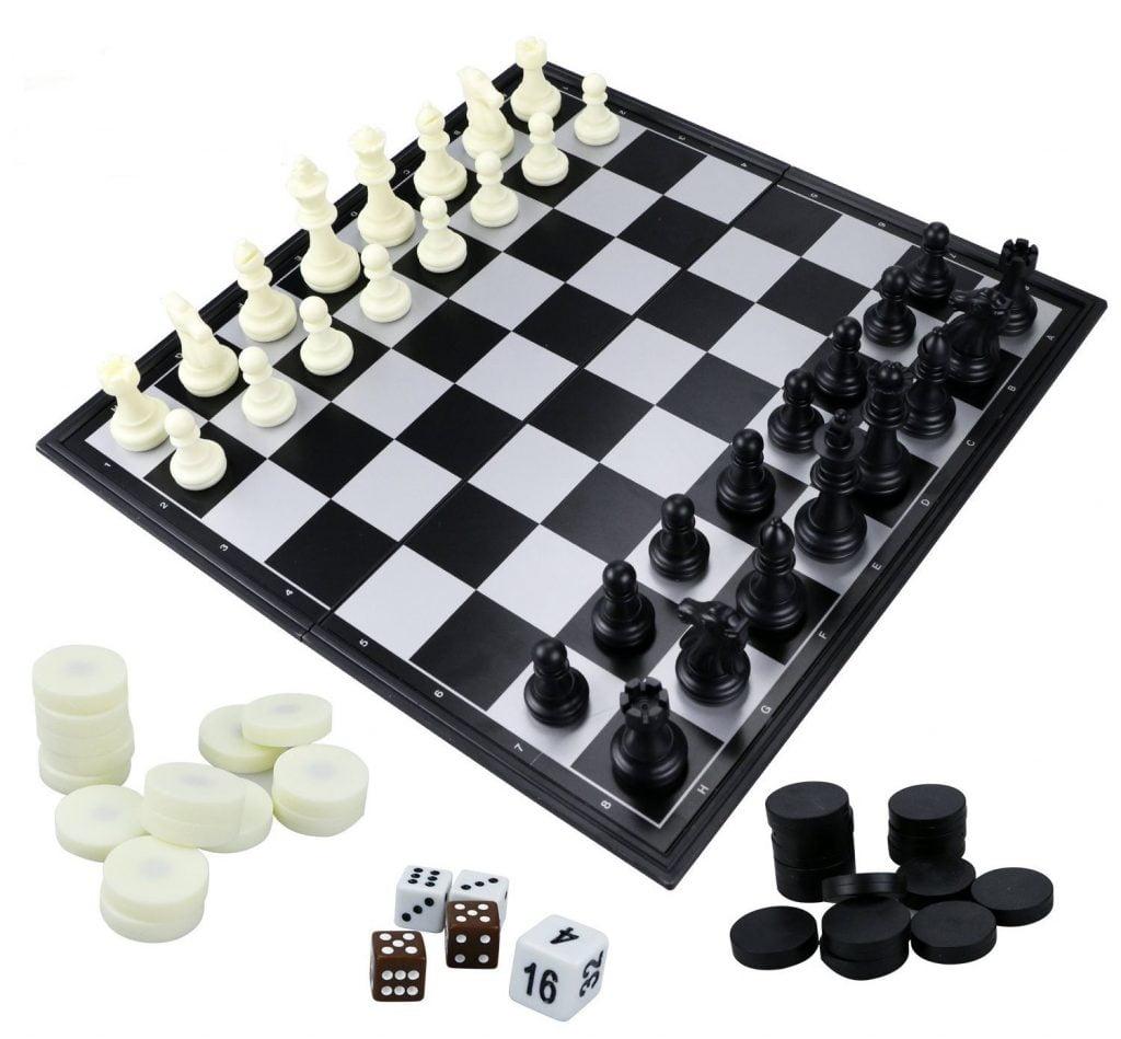 Echiquier bois noir&blanc jeu de dame et backgammon