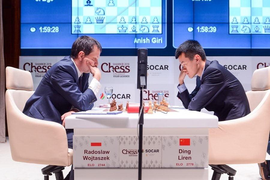Shamkir chess 2018 ronde 1 Liren Ding - Wojtaszek